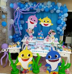 Shark Birthday Cakes, Baby Boy 1st Birthday Party, 2nd Birthday Party Themes, 1st Boy Birthday, Shark Party Decorations, Babysitting, Octopus, Kids Bday Party Ideas, Girl 1st Birthdays