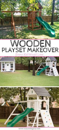 Trendy Backyard Makeover Before And After Life Backyard Playset, Backyard Playground, Backyard Ideas, Garden Ideas, Playground Ideas, Modern Backyard, Backyard Projects, Arkansas, Wooden Playset