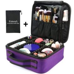 3d05165dc1 Makeup Bag ESARORA Portable Travel Makeup Cosmetic Case Organizer Mini  Makeup Train Case inch) with Adjustable Dividers for Cosmetics Makeup  Brushes ...