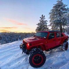 Lifted Jeep Gladiator in the snow . Red Jeep, Jeep Jl, Jeep Cars, Jeep Truck, Ford Trucks, Jeep Wrangler Rubicon, Jeep Wrangler Unlimited, Jeep Wagoneer, Custom Jeep