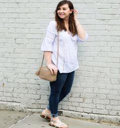 @ilonashabovta styling our blue & white stripe top with a cute GiGi New York purse