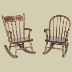 Redux Antique Childrens Rocking Chairs Colonial Acorn Back Left And Bow
