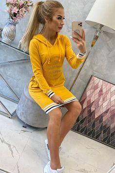 Rochie sport dama PrettyModa.ro Mustard, Brooklyn, Bodycon Dress, Skinny, Sport, Lady, Sweaters, Cotton, How To Wear