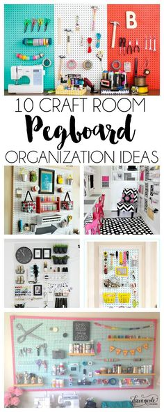 10 Craft Room Pegboard Organization Ideas 10 Craft Room Pegboard Organization Ideas There is something so nice about an organized craft area and pegboard is the perfect way to be organized and chic. Sewing Room Organization, Craft Room Storage, Organization Ideas, Diy Storage, Craft Rooms, Pegboard Storage, Storage Ideas, Wall Storage, Craft Room Organizing