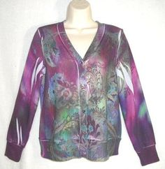 NY COLLECTION sz PM sweater knit CARDIGAN top SUBLIMINATION EMBELLISHED