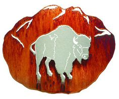 3D Buffalo Hand Brushed Steel on Acid Washed Metal Wall Art