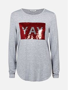 Melert mørk grå - Langermet topp med paljetter Graphic Sweatshirt, Sweatshirts, Sweaters, Fashion, Moda, Hoodies, Fashion Styles, Sweater, Trainers