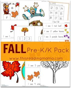 FREE Fall Pre-K/K Pack with fall emergent readers, rhyming & syllable activities, fine motor work, plus math skills, too! | This Reading Mama