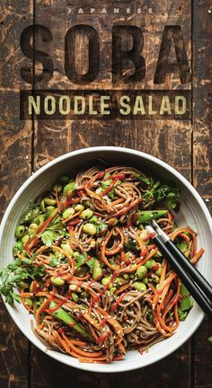 Soba Noodle Salad A healthy Japanese vegetarian dinner and lunch recipe that is quick and easy to make. Made of edamame, carrots and soba noodles with a delightful ginger sesame sauce. A wonderful vegan dish served warm or cold. Fideos Soba, Lunch Recipes, Healthy Recipes, Healthy Salads, Recipes Dinner, Vegetarian Dinners, Japanese Vegetarian Recipes, Dinner Salads, Dinner Healthy