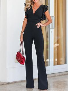 Solid Plunge Flutter Sleeve Scrunch Flared Jumpsuit