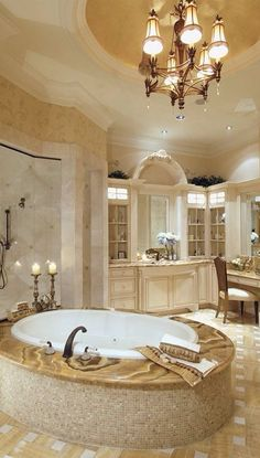 The Millionaire Treatment. Elegant #bathroom design and beautiful #plumbing fixtures makes this an ideal place to relax.