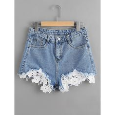 Contrast Crochet Frayed Hem Denim Shorts (€11) ❤ liked on Polyvore featuring shorts, blue, blue shorts, crochet denim shorts, blue jean short shorts, crochet shorts and blue denim shorts