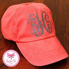 Monogram Hat in Glitter Baseball Cap Preppy by frecklefoxboutique, $28.00