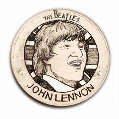 John S279 The Beatles Ike Dollar Hobo Nickel Hand Engraved by Luis A Ortiz