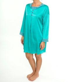 Women's Satin Nightgown  Ladies Pajama Dress Teal by PajamasNmore