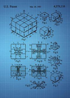 Rubik's cube Patent 1983 - Blue - Chris Smith