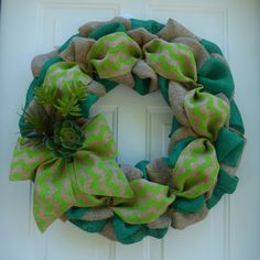 Succulent Wreaths/Spring Wreaths for Front Door/Burlap Wreath/Summer Wreaths for the Door/Summer Door Wreaths/Chevron Wreath/Succulent Decor by OneofaKindWreath on Etsy