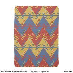 Red Yellow Blue Aztec Baby Fleece Blanket