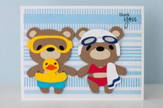 """Swimming teddy bears card made using Cricut cartridge """"Teddy Bear Parade"""" and Pink by Design's stamp set """"Scripted Year."""""""