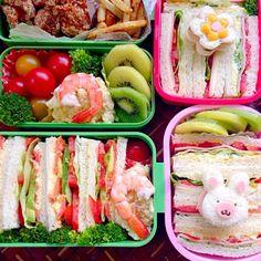 晴れて良かった〜 微妙だったのでお手軽サンドウィッチ✌️3人分だとやっぱり時間かかるな - 96件のもぐもぐ - Lunch box☆PicnicSandwich遠足 サンドウィッチ by Ami