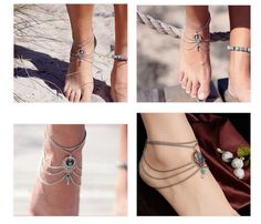 Boho Ethnic Turquoise Beads Anklets Chic Tassel Foot Chain Anklet Bracelet Body Jewelry Anklets For Women Free Shipping