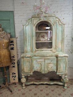 Vintage Painted Cottage Aqua Chic Shabby China Cabinet