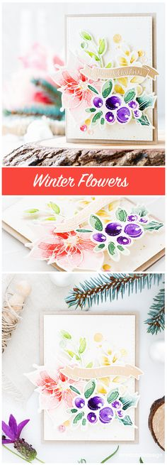 One set two ways using the beautiful Winter Flowers set from the new Believe In The Season release from Simon Says Stamp. Flower Stamp, Flower Cards, Holiday Cards, Christmas Cards, Winter Flowers, Doodle Designs, Card Tutorials, Watercolor Cards, Homemade Cards