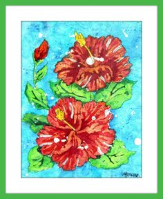 Batik Watercolor Red Orange Hibiscus by Artist by MarthaKislingArt Watercolor Red, Watercolor Paintings, Southwestern Art, Batik Art, Orange And Turquoise, Tropical Decor, Rice Paper, Your Paintings, Painting Frames