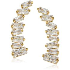 """gorjana """"Holiday"""" Amara Ear Climbers Earrings (42.225 CLP) ❤ liked on Polyvore featuring jewelry, earrings, ear climbers jewelry, gorjana jewelry, gorjana, cocktail earrings and special occasion jewelry"""