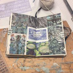 fyeah journalss ♥ - caitmceniff: Lucille Clerc (v messy desk) Moleskine, Arte Sketchbook, Sketchbook Pages, Sketchbook Ideas, Artist Journal, Art Journal Pages, Art Journals, Illustration Art, Illustrations