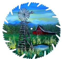 Mountain Crafts -   Hand Painted Saw Blades Smoky Mountain Windmill and Red Barn, $15.00 (http://www.mountaincrafts.co/hand-painted-saw-blades-smoky-mountain-windmill-and-red-barn/)