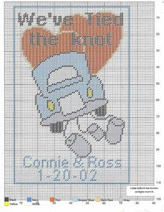 We tied the knot Plastic Canvas Christmas, Plastic Canvas Crafts, Plastic Canvas Patterns, Crochet Flower Patterns, Beading Patterns, Canvas Door Hanger, Wedding Cross Stitch, Cross Stitch Letters, Wedding Albums
