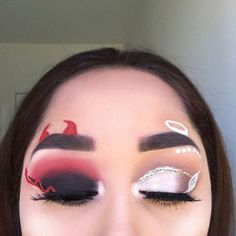 Looking for for ideas for your Halloween make-up? Check out the post right here for cute Halloween makeup looks. Maquillage Halloween Clown, Cute Halloween Makeup, Halloween Halloween, Angel Make Up Halloween, Halloween Eyeshadow, Halloween Costumes, Makeup Eye Looks, Crazy Makeup, Face Makeup