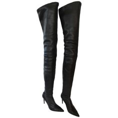 Chanel Black Lambskin Leather Thigh High Boots | From a collection of rare vintage shoes at http://www.1stdibs.com/fashion/accessories/shoes/