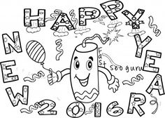 Happy Newyear Fireworks Coloring Pages Printable For Kidsprint Out New Year