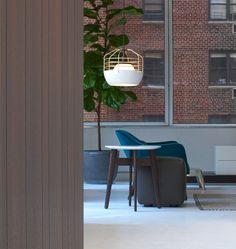 Bluff City (White/Brass) — Poliform, New York. Designed by Jonah Takagi for Roll & Hill Interior Lighting, Modern Lighting, Roll Hill, Bluff City, Industrial Living, Commercial Interiors, Pendant Lighting, Light Fixtures, Ceiling Lights