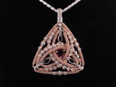 citrine, rhodolite garnet, argentium sterling silver and 14k gold filled wire wrap pendant