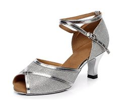 Kevin Fashion KQJ7080 Womens Low Heel Silver Glitter Latin Salsa Tango Wedding Sandals 85 US * Click on the image for additional details.