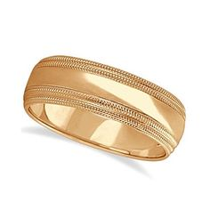 Mens Shiny Double Milgrain Wedding Ring Wide Band 14k Rose Gold (7mm), Men's, Size: 4