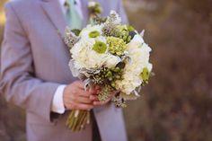 The Luxe Pearl  Prestigious Wedding Blog www.theluxepearl.com  Green & Cream Wedding Bouquet, Button mums,