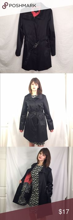 Black Trench Coat Water resistant and stylish. Floral pattern on inside of jacket and zip up closure. Keep your belongings dry with zip up pockets. Rarely worn and kept in perfect shape Mossimo Supply Co Jackets & Coats Trench Coats