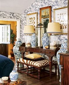 British Colonial style- love the blue and white traditional patterning paired with the edgy but classic brown and white zebra print. My Living Room, Living Spaces, Cozy Living, Coastal Living, Tables Tableaux, White Beach Houses, British Colonial Decor, Colonial India, Home Decoracion