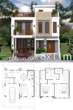 Home Design Plan with 3 Bedrooms – SamPhoas Plan – House Design Ideas 3 Storey House Design, Two Story House Design, Duplex House Design, Simple House Design, House Front Design, Modern House Design, Modern House Floor Plans, Sims House Plans, Home Design Floor Plans