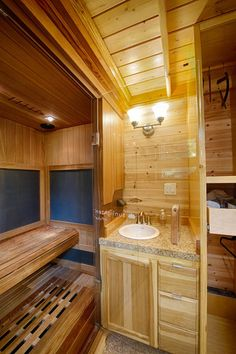 This tiny house w/ sauna is called Hope Cottage. It's a bed and breakfast called Hope Island Cottages Bed and Breakfast in Fidalgo Island near La Conner in Washington State Tiny Bathrooms, Tiny House Bathroom, Small Bathroom, Bathroom Ideas, Saunas, Tiny House Plans, Tiny House On Wheels, Small Space Design, Small Spaces