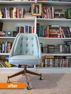 Spray painted vinyl chair | Apartment Therapy. To remember when re-doing our office chair.