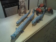 Paper mache lizards frogs and squirrel easy and cheap to make give it a try