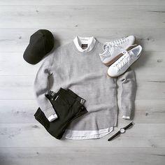 Finishing off the last work day of this short week in black and grey 〰️Are you a fan of monochrome? __________ Sweater:@hm Shirt:@jachsny Denim:@katobrand Hat:@aldo_shoes Sneakers:@adidasoriginals Stan Smith • • • • • #jachsny #adidasoriginals #aldoshoes #katobrand #hm #telestowatch #menswear #casualstyle #minimal #minimalfashion #momochrome #denim #Selvedge #japanese #gumsole #winterstyle #minimalist #mensstyle #outfitdesign #flatlay #ootd #zaramen #streetwear