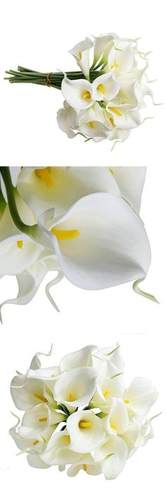 """HuanX35 Nearly Natural 13"""" Calla Lily Artificial Flowers Bridal Wedding Bouquet head Latex Real Touch Flower Home Decorations Indoors Outdoors (yellow flower pistil 12PCS)"""