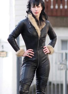 Leather aviator catsuit - Looks like a Crazy Outfits catsuit worn over fur sweater
