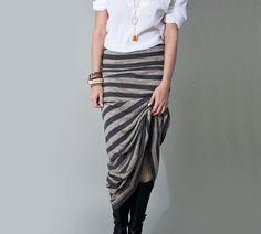 Long Skirt Maxi Stripe Womens Clothing Gray Striped by LOFT415, $29.00